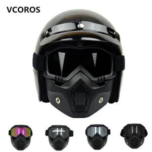 Nuevo VCOROS máscara modular desmontable gafas y filtro de boca perfecto para la cara abierta de la vendimia cascos de moto Coolplay máscara