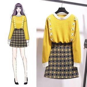 ICHOIX Dantel yukarı kazak 2 adet kareli etek ayarlayabilir ve üstleri etek kadın 2 adet gündelik kış Şık Koreli 2parça kıyafetler set
