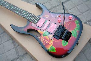 Chine RG77 Steve Vai Guitare Guitare électrique modèle de fleur verte vigne Fingerboard Inlay Floyd Black Rose Tremolo Rose Micros SAS