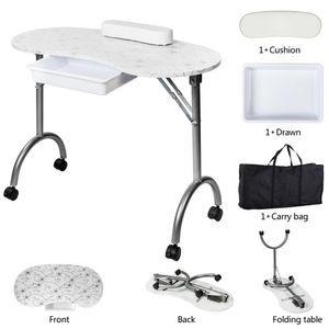 SONYI manucure Table pliante portable ongles station bureau 1 tiroirs Table manucure Technician bureau poste de travail client poignet Pad blanc