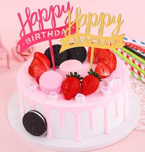 New Golden Glitter Acrílico Feliz Cumpleaños Cake Topper Cupcake Toppers Baby Shower Pastel Banderas Fiesta de Cumpleaños Decoración de La Boda GA703