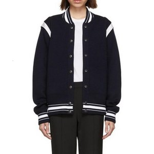18FW Letter Logo Dark Blue Hundred Side Streaks Baseball Jacket Stitching Fashion Button Coat Casual High Street Hip Hop Outerwear HFHLJK048