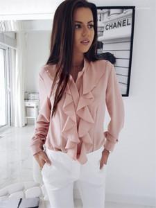 Shirts Ruffled Crew Neck Womens Shirts Designer Long Sleeve Camisas Casual negócio sólido
