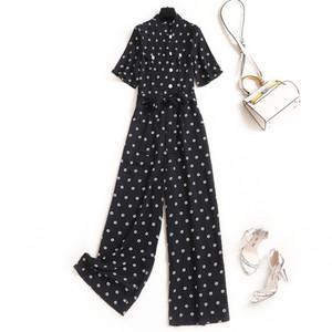 2020 Summer New Designer Femmes Jumpsuit élégant à manches courtes Bow cou imprimé floral Pantalons longs bureau barboteuses Femmes Tenues