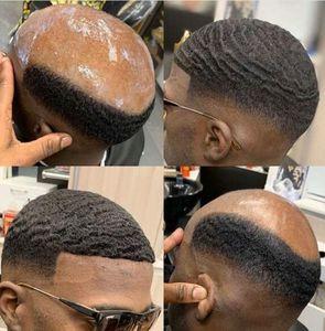 8mm Afro Wave Toupée de dentelle pleine de dentelle pour le basketball joueurs et fans Remy Brésilien Remy Cheveux humains Remplacement Afro Wave Cheveux Hommes Wig Free Shippinng
