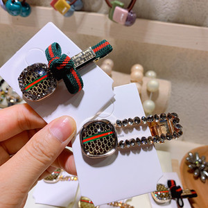 Luxury Hair Clip Women Beautiful Red Green Stripe Letter Letter Rhinestone Barrettes Fashion Hair Accessories P12