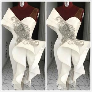 2020 New Cocktail Robes de bal avec perles Ruffle gaine courte robe de soirée de l'arabe manches Taille Plus Robe De Soiree Invité Wear BC3053