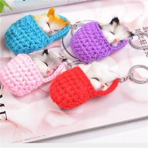 Schlafenkatzen Keychain strickende Tierkugel-Schlüsselwölbungen reizender Schlüsselring-Handtaschen-Anhänger-netter Hamster-heißer Verkauf 4 6ch O1