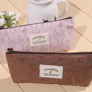 DHL'in 200pcs Coin Çantalar Kadınlar çiçek çiçek kanvas anahtar kavrama çanta cüzdan mix renk