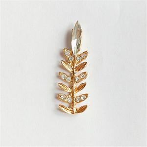 Venta al por mayor 30 UNIDS 3.9 cm * 1.3 cm Moda Metal Aleación Crystal Rhinestone Leaf Connectors Charm para la fabricación de joyas