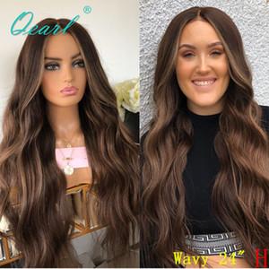 Full Encace Wig Humano Hair Chocolate Brown Balayage Color peruano ondulado remy pelo profundo parte media 130% 150% preplucidificado Qearl