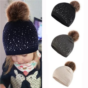 Neue populäre Kinder Multi-Farben-Punkt-Diamant-Kopf mit Haar Dall Herbst und Winter Wollmütze Warme Wollmütze