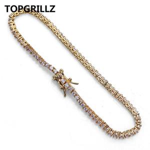 TOPGRILLZ Hip Hop 2mm Hombres 1Row Tennis Chain Pulsera Color dorado Iced Out Micro Pave Lab D Stud Pendientes con tornillo de nuevo para regalo
