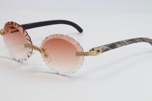 Verkauf zweireihigen Big Stone Rimless Glasses 3524012A Black Flower Buffalo Horn Sun-Glas-Maxi-Runde Blinged-Out Sonnenbrille Surround