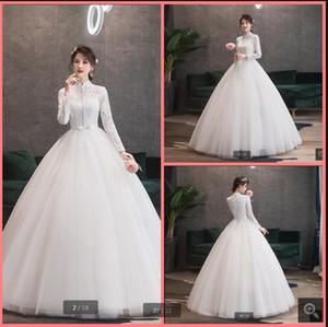 Robe de Mariage 2020 white lace ball gown wedding dress beaded sequins high neck long sleeve corset bridal gowns vestido de noiva