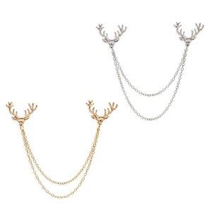 Jewelry 12Pcs / Lot unisex Deer Head Spilla Elk Antler catena nappa Pin Badge Neutral cappotto camicia collare soddisfare Ago partito