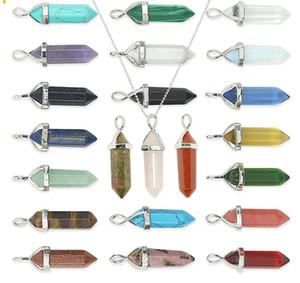 Дизайнер шестиугольная призма Gemstone Рок Природный камень пуля Форма кулон ожерелья Аметист Чакра Кварцевый ожерелья ювелирных изделий женщин