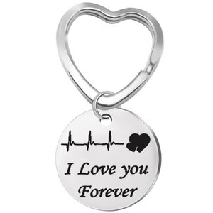 2020 Best Selling Couple Keychain I Love You Forever Stainless Steel Lettering Heart Shaped Keychain ECG Key Ring Simple Couple