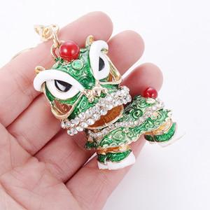 Китайский традиционный красочный Интересный Fancy танец льва брелок Китай Город Happy New Year Party Gift кошелек сумка Шарм Key Chain Ring HYS05