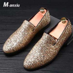 M-anxiu Men Shoes Moda Couro Doug Casual Plano borlas Deslizamento-Em Motorista Vestido preguiçosos Pointed Toe Wedding Shoes mocassim