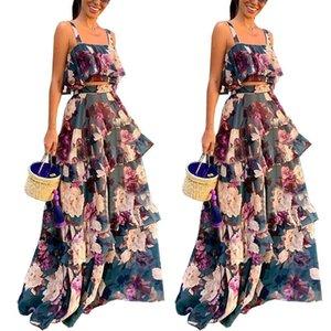 Floreale stampato Womens due pezzi abiti senza maniche Ante femminile Abiti Set elegante Abbigliamento Donna Nuovo arrivo