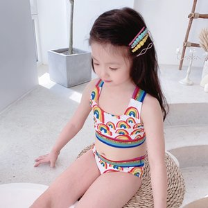 Yeni Yaz Bebek Kız Mayolar Çocuk Bebek Karikatür Mayo İki Adet Tankinis Bikini Mayo Plaj giysileri