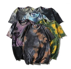 Verano O Cuello Tops para hombre del diseñador de moda teñido lazo camisetas de manga corta ocasionales flojas de las camisetas para hombre