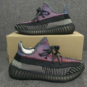 2020 New Kanye West V2 Yecheil Running Shoes Men Woman Black Coloured Rainbow Knitted Brand Design ss