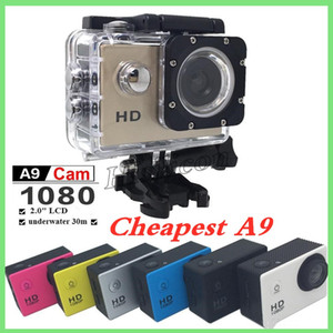 "Cheapest Colorful A9 HD 1080P Waterproof Action Cameras copy Diving 30M 2"" 140° View Sports Camera Mini DV DVR Helmet Camcorders +retail box"