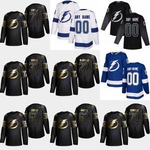 2019 Golden Edition Tampa Bay Lightning 71 Anthony Cirelli 70 Louis Domingue Danick Martel Braydon Coburn Yanni Gourde Ryan McDonagh Jersey