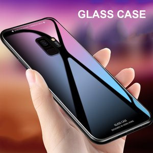 Pour Samsung Galaxy A8 A7 A6 J3 J6 J7 S8 S9 plus Note9 Note8 2018 Etui Luxury Slim Fit verre brillant Trempé Cadre silicone Couverture rigide