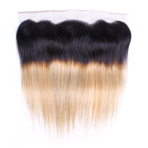 Ombre Blonde Dentelle Fermeture Frontale 4x13 Oreille à Oreille 1B 27 Cheveux Raides Brésiliens Remy Extension de Cheveux Humains Main Attachée 150% Densité