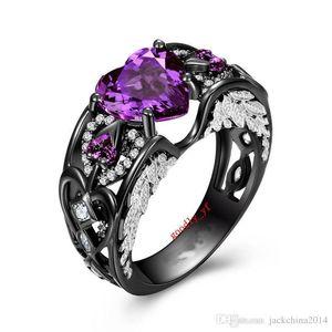 Key4fashion Ücretsiz Lüks Takı 10KT Siyah Altın Dolu Mor Ametist CZ Elmas Taşlar Kadınlar Düğün Nişan Kalp Kanat Band Yüzük