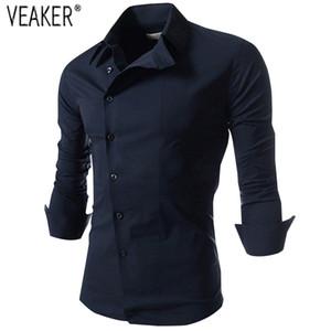 Herfst Nieuwe mannen Slim Fit Shirts Effen Kleur Lange Mouwen Tops Wit Rood Zwart Mannelijke Casual Business shirt M-3XL