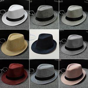 Moda Kadınlar Keten Hasır Şapka Yumuşak Erkekler Cimri Brim Fedora Panama Güneş kremi Şapka Açık Seyahat Plaj Güneş Şapka TTA954