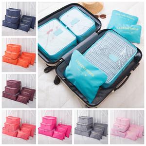 6pcs / Set Viaje bolsa de maquillaje Equipaje almacenaje de la ropa del organizador del almacenaje cosmético portable del sujetador de la ropa interior de la bolsa bolsas de almacenamiento FFA3355