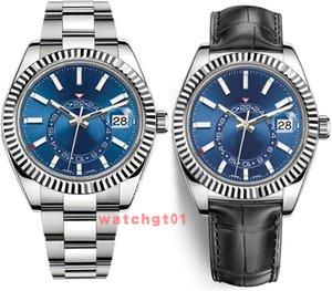 Masculino Mens Watch Sapphire Homens Mecânico Automático Movimento Calendário Relógios 42 milímetros Sky-Dweller ajustável Aço Couro Relógios de pulso originais