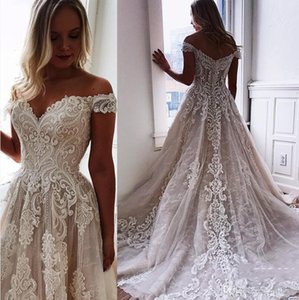 Vintage Lace Wedding Dresses Off The Shoulder Sweep Train A Line Appliqued Bohemian Bridal Gowns Plus Size Vestidos De Novia