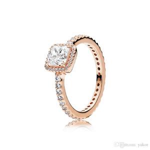 Nuovi 3 colori Quadrato CZ Diamond Stone Anello nuziale Originale per Pandora 925 Silver Rose Gold Giallo Giallo Placcato Anelli Set per le donne