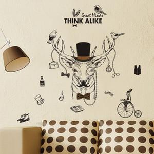 20190621 Deer Head Cartoon parede pintura fundo decoração autoadesiva papel