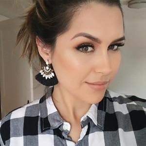 7 colori alla moda orecchini nappa di cotone per le donne etnici classici triangolo orecchino di cristallo boemia moda ciondola gioielli goccia 2019 nuovo