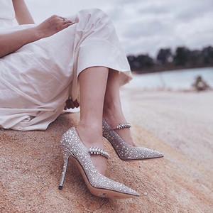 Mujer Londres Baily 100mm Bombas de cuero del becerro de piel de cabra del metal cristalino Jimmy Choo talones correa Bailey cristal de la perla zapatos de boda nueva temporada