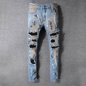 Известные мужские джинсы стилиста Тонкий Мужские джинсы Fit Узкие Мужчины Женщины Мотоцикл Байкер Хип-хоп Проблемные рваные джинсы Брюки