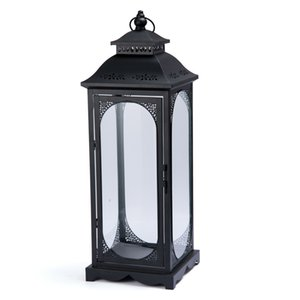 Nordic White Metal Candle Holder Garden Iron Outdoor Windproof Wind Lamp Glass Wedding Decoration Candle Lantern Gift FC444