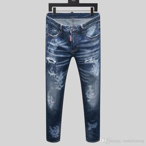 2020 Men's Slim Straight Black Jeans Fashion Designer Slim Cut Washed Motorcycle Jeans Board Hip Hop mens slim fit jeans