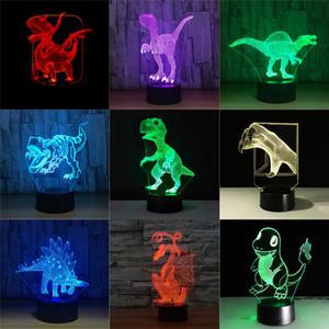 Jurassic Dinozor 3D Boy Çocuk Hediye için Işık Sleeping Night Lights 7 Renk Uzaktan Dokunmatik Anahtarı Masası Masa Lambası Baby LED