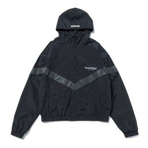 Mens Casacos Moda Windbreaker High Street FOG ESSENTIALS Reflective Hoodie Casual revestimentos encapuçados Outwear Preto S-XL
