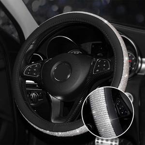 Cubiertas de la rueda de dirección de lujo cristalino del coche para el cuero muchachas de las mujeres cubiertas de diamantes de imitación para las ruedas de dirección Accesorios Interior