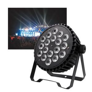 Caja fuerte 18pcs 10w luz LED plana Par DJ RGBW Aplique delgado LED PAR Iluminación