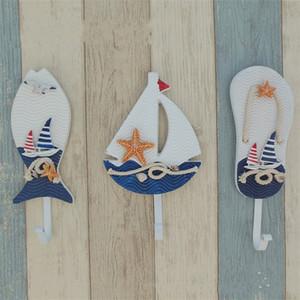 Shaped Slipper Boat Recados Hooks Mediterrâneo Estilo Âncoras Peixe quarto gancho de estar Hanging Decor Decoração Náutico 4 2lc UU